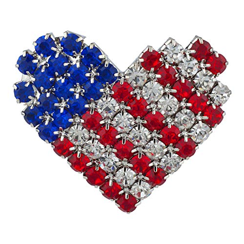 - Lux Accessories Silvertone American Heart Blue Red Clear Crystal Rhinestones Pin