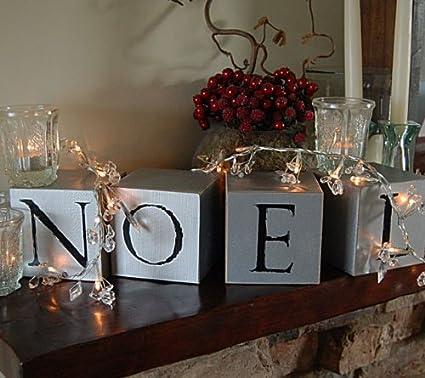 Amazoncom Traditional Noel Letters Wooden Block Set Christmas