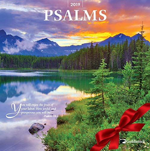 GoldistockPsalms 2019 Large Wall Calendar - 12 x 24 (Open) - Thick & Sturdy Paper - Beautiful Scripture from The Bible