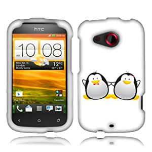 Fincibo (TM) HTC Desire C Wildfire C Golf Protector Cover Case Snap On Hard Plastic - Love of penguin, Front And Back