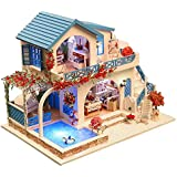 Kisoy Romantic and Cute Dollhouse Miniature DIY House Kit Creative Room Perfect DIY Gift for Friends,Lovers and Families (Cool Summer Holiday)