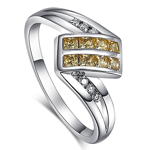 Veunora 925 Sterling Silver Created Princess Cut Citrine Filled Ring for Women Size 9