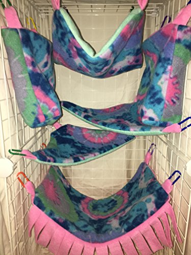 Complete Hammock Set For Rats, Sugar Gliders, Ferrets, or Other Small Pets - Featuring Pastel Tie Dye Fleece ()
