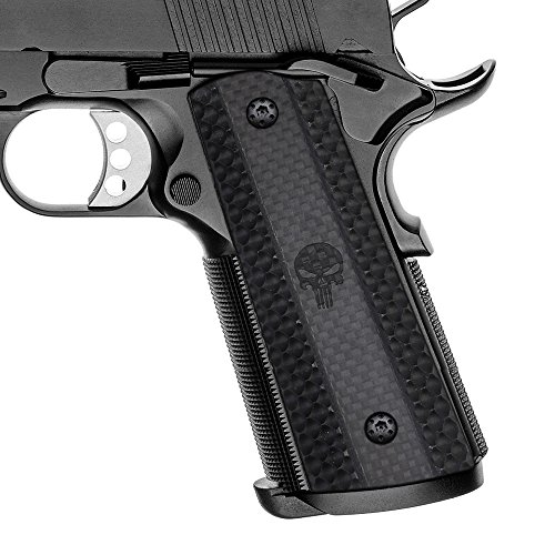 Cool Hand 1911 Carbon Fiber Grips, Full Size (Government/Commander), Free Screws included, Magwell Cut, Ambi Safety Cut, Punisher Skull Texture, H1M-PJ2P-CFB