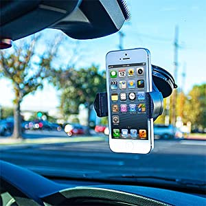 Cell Accessories For Less (TM) 360 Degree Rotating Windshield Car Mount Holder for LG Stylo 3 Plus Bundle (Stylus & Micro Cleaning Cloth) - By TheTargetBuys