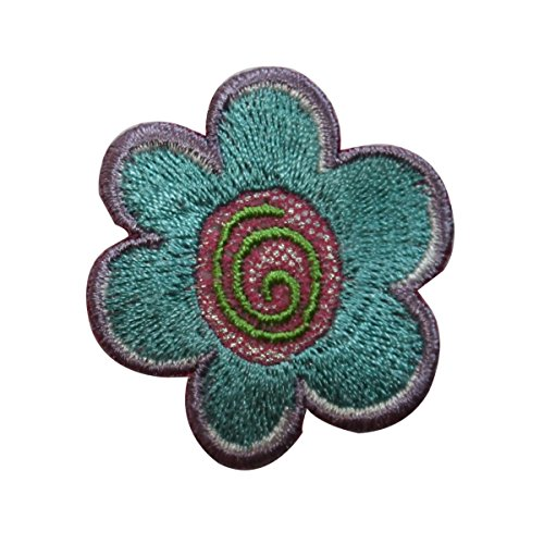 ID 6547 Teal Swirl Flower Patch Daisy Garden Craft Embroidered Iron On Applique