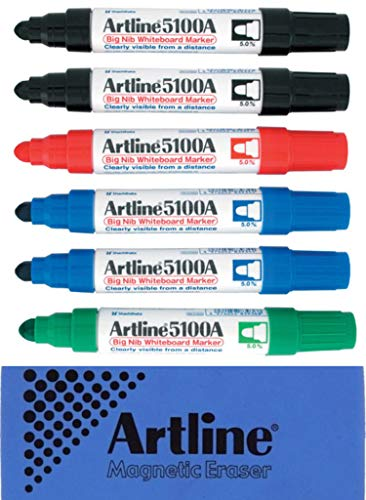 (Jiffco Artline 5109A Big Nib Whiteboard Markers 6 Pack Assorted Bundle With Magnetic Eraser )