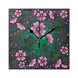 LORVIES Mallow Pattern Wall Clock Silent Non TickingAcrylic 8 Inch Square Decorative Clock for Home/Office / Kitchen/Bedroom / Living Room