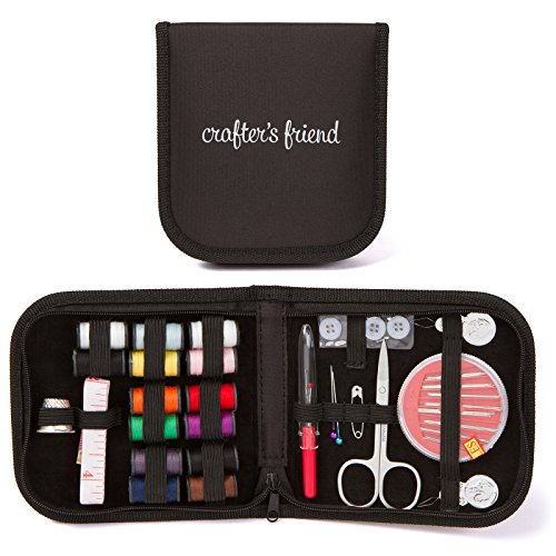 Mini Sewing Kit for Home, Travel & Emergency - Premium Sewing Supplies, Compact Storage Case, Extra White and Black ()