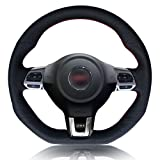 vw r steering wheel - MEWANT Black Artificial Leather Car Steering Wheel Cover for Volkswagen Golf 6 GTI MK6 VW Polo GTI Scirocco R Passat CC R-Line 2010