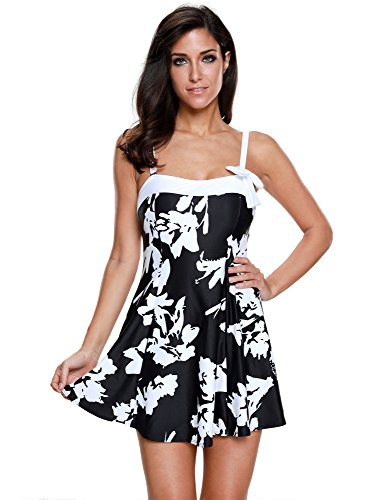 Lookbook Store Women's Black and White Bow Swimdress Bandeau One-Piece Skirt Bathing Suit Swimsuit, Size ()