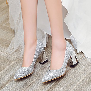 Silver US7 Evening Zormey UK5 Summer Women'S Party 5 Gold CN38 Wedding Red EU38 Fall Heel Glitter amp;Amp; Sequin Heel 5 Chunky Heels Spring Casual Block xx4qAHwpT