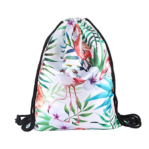 (Drawstring Backpack Flamingo Sack Bag Silk Shoulder Bags Lightweight Gym Sackpack Waterproof Cinch Sack Quick-dried Plant Painted Backpack for Men Women)