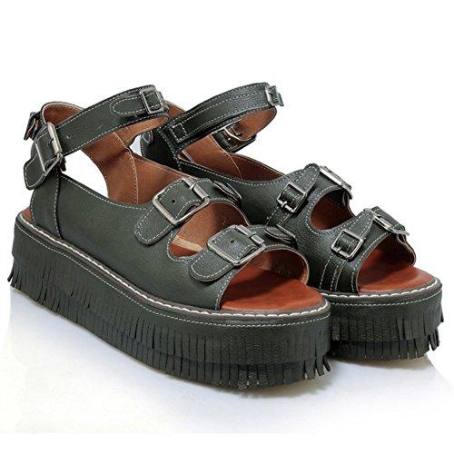 TAOFFEN Mujer Retro Plataformaa Hebilla Franja Sandalias Talon Abierto Verano Zapatos Verde