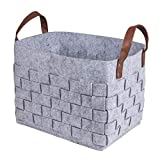 BOLDMONKEY Storage Basket Laundry Basket Durable Felt Basket (Gray),Send a Shopping Bag.