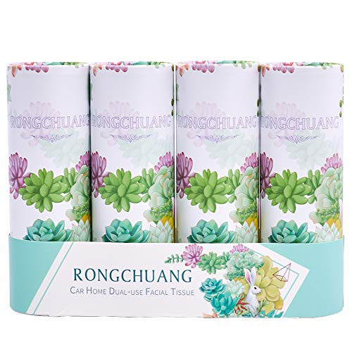 RONGCHUANG Facial Tissue 4 Packs, 50 Count Tissues Per Tube Portable Cylinder Box Roll for Office Car Home