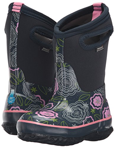 Bogs Classic High Waterproof Insulated Rubber Neoprene Rain Boot Snow, Posey Print/Dark Blue/Multi, 3 M US Little Kid by Bogs (Image #6)