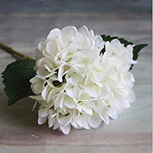 YJBear Silk Artificial White Hydrangeas Flower for Office Decor Home Decoration Washable DIY Flowers for Wedding Bouquets Party(1 Flower) 76