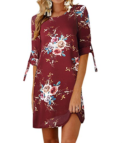 Playa Tinto Partido Vendaje Casual de Verano de Hermoso Vestidos Impresión Vestido Moda Vino Cuello Mujeres Redondo Mini Manga Media Fiesta xHxqaOY4