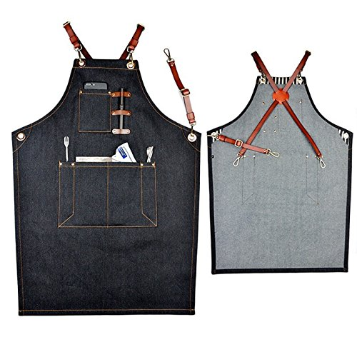 698ba84f67 Big-sized Stylish Durable Denim Tool Apron with Adjustable Waist Ties - Kitchen  Cooking Baking Grilling Leather Utility Workhop Apron for Waiter Waitress  ...