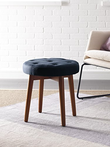 Elle Decor Penelope Round Tufted Stool - Blue
