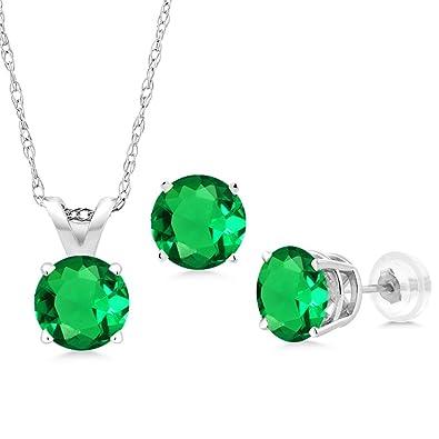 07826bef62653 Amazon.com: 2.31 Ct Green Simulated Emerald 14K White Gold Pendant ...