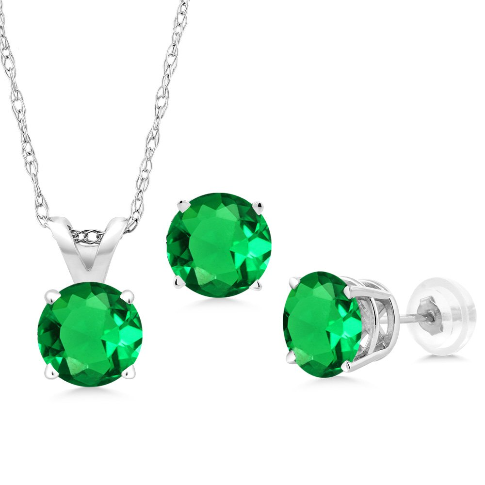 2.31 Ct Green Simulated Emerald 14K White Gold Pendant Earrings Set With Chain