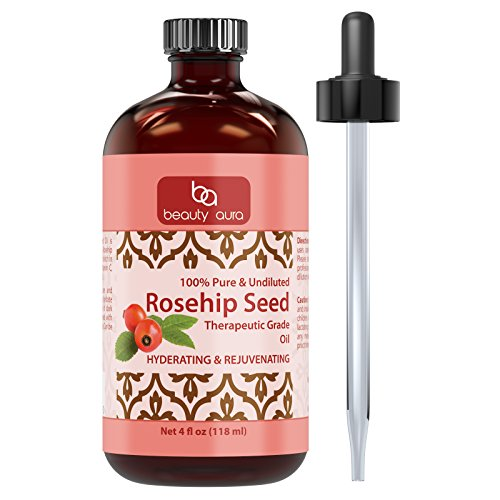 Beauty Aura 100% Pure Rosehip Seed Essential Oil - Therapeutic Grade Oil Made Rose Canina Rose Hips - Ideal for Aromatherapy...