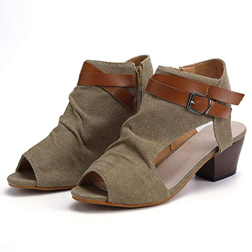 Chaussures Peep Cheville Kaki Toe Talon Pour Femmes Sandales Mode Bhydry Respirantes La À Carré xfqzPg