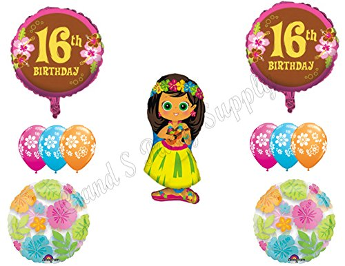 16th Luau Sweet Sixteen Happy Birthday PARTY Balloons Decorations Supplies hula girl tropical beach