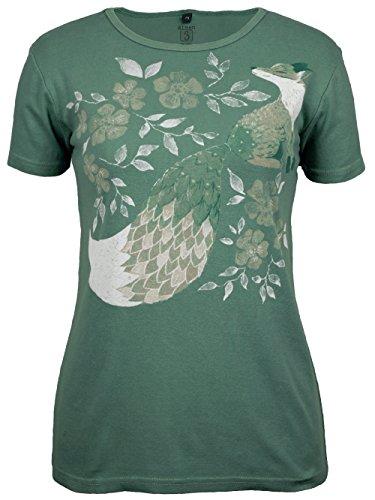 (Green 3 Painted Fox Short Sleeve T Shirt (Grasshopper) - 100% Organic Cotton Womens Tshirt, Made in The USA (Large))
