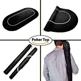 Poker Table Top Sure Stick Roll Up Rubber Foam Layout (Black) Portable Poker and Game Mat for 8 Players