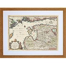9x7 '' MAP LIVONIA COURLAND FINLAND ESTONIA LATVIA FRAMED ART PRINT F97X1263