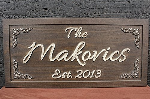 Wedding Sign Wedding Gift Family Name Sign Bridal Shower Gift Custom Personalized Carved Sign Distressed Wooden Established Sign