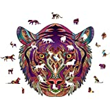 Bengal Tiger/African Lion Wooden Puzzle, 5MM Nature Theme Wooden Unique Shape Jigsaw Puzzle Jigsaw 200 Pieces Beautiful Animal for Adults and 14 Years Age up Teens