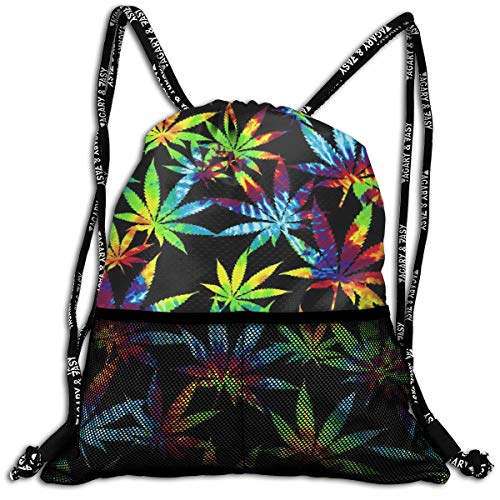 Polyester Drawstring Sack Theft Proof Waterproof Large Cinch Sackpack Large Capacity For Basketball, Volleyball, Baseball, Sports & Workout Gear (Tie Dye Weed Leaves) -