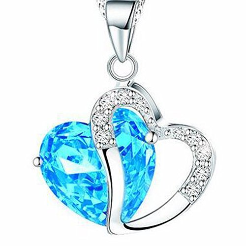 March birthstone necklace amazon bling stars swarovski element crystal accent march birthstone aquamarine heart shaped pendant necklace mozeypictures Choice Image