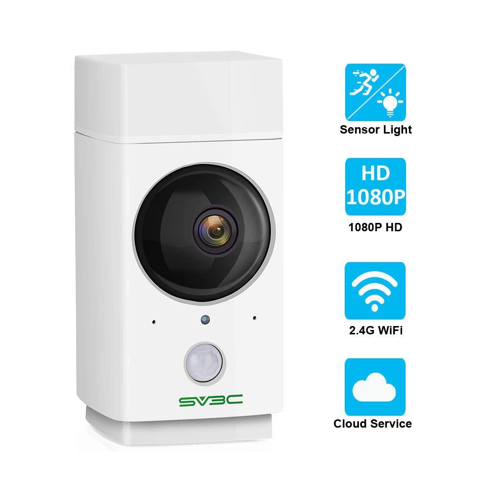 Indoor WiFi Camera 1080P SV3C Pet Camera Wireless Nanny Cam Baby Monitor 360-Degree Panoramic Navigation,Sensor Light,Motion Tracking,IR Night Vision,Two-Way Talk,Local Cloud Storage,Work with Alexa