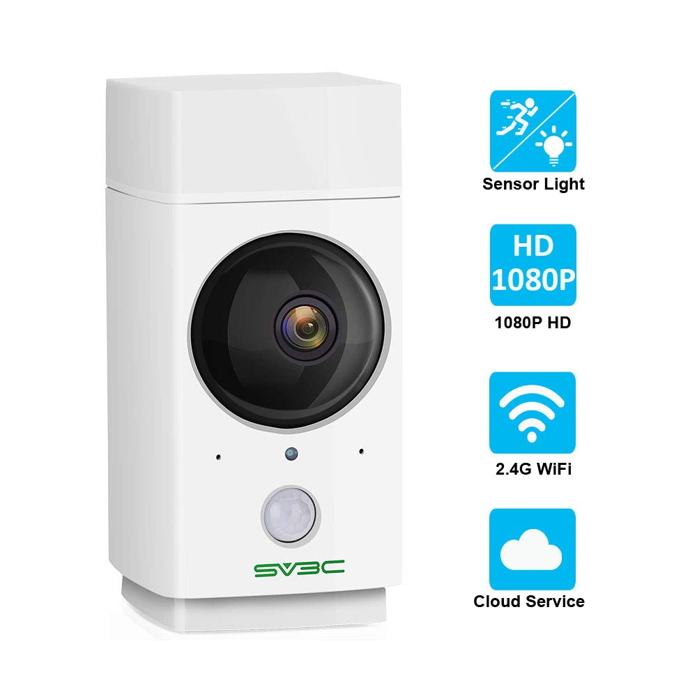 Indoor WiFi Camera 1080P SV3C Pet Camera Wireless Nanny Cam Baby Monitor 360-Degree Panoramic Navigation,Sensor Light,Motion Tracking,IR Night Vision,Two-Way Talk,Local/Cloud Storage,Work with Alexa by SV3C