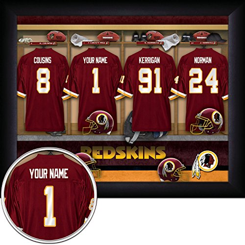 Washington Redskins Personalized NFL Football Locker Room Jersey Framed Art Print 13x16 Inches (Redskins Nfl Room Locker Washington)