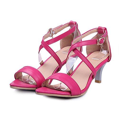 AllhqFashion Damen Weiches Material Schnalle Mittler Absatz Sandalen Wassermelone Farbe