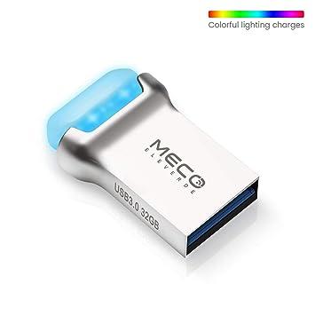 MECO ELEVERDE Pendrive 32GB 3.0 Mini Memoria USB Luz LED de Color con Cordón Flash Drive