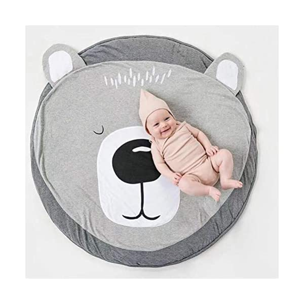 Lzttyee Cotton Round Bear Nursery Rug Baby Floor Play Mat Crawling Blanket for Kids Room Decoration Gray