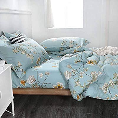 NANKO Comforter Set Queen Size,Teal 88 x 90 inch Reversible Down Alternative Comforter Microfiber Duvet Sets (1 Comforter + 2 Pillow)Best Country Style Floral Leaf Vintage Flower Print Bedding, Green - The 3 piece comforter set includes 1 duvet insert or stand-along comforter (88 x 90 inches) and 2 matching pillow shams (20 x 26 inches) Elegant Design - Vintage and fresh, great for your bedding décor. You may also use this comforter set for guest room or as a gift for family members or friends to present your good taste. It is cute bedding set for men or women. Soft & Fluffy – All season comforter with down alternative filling, lightweight and fluffy. Fabrics is made of 100% luxury brushed microfiber, giving you exceptionally soft and silky feeling. Our breathable comforter will ensure you a cozy sleep throughout the night, cool in the summer, comfortable in the spring and fall, and even warm in the winter in southern area. Durable & Stain-resistant – Our unique S-shaped box quilting and solid stitching for the comforter largely improve its durability, well preventing bunching. The quality bedding is also stain resistant, fade resistant and wrinkle resistant. - comforter-sets, bedroom-sheets-comforters, bedroom - 51J20R7qTcL. SS400  -