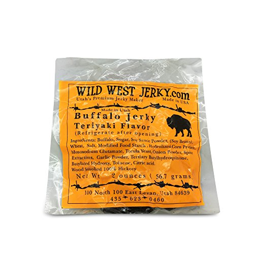(#1 BEST Premium 100% Natural Grass Fed Hand Stripped 2 OZ. Thick Cut Delicious Bold Flavor Buffalo Teriyaki Jerky from Utah USA – Wood smoked With Hickory Wood by Wild West Jerky (Teriyaki, 1))
