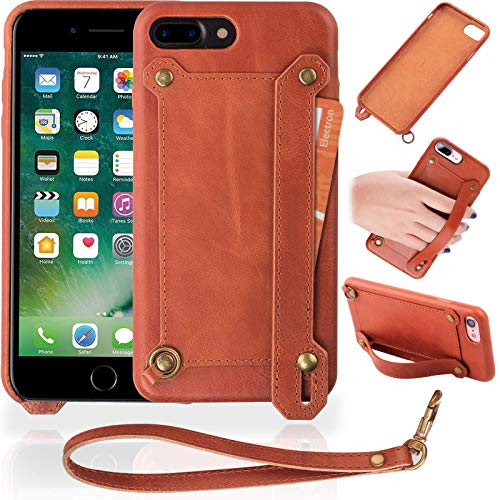 - Veracelli Compatible with iPhone 7 Plus Case and iPhone 8 Plus Case - Luxury Phone Case with Card Holder and Stand - Genuine Leather Cover with Strap Holder (Brown)