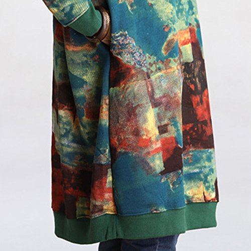 Stampa Verde Manicotto Con Signore A Midi Casuale Di Girocollo Celmia Dell'annata Vestito Allentato Del Inverno Donne Lungo Oversize Autunno Velluto EnvaFx8q