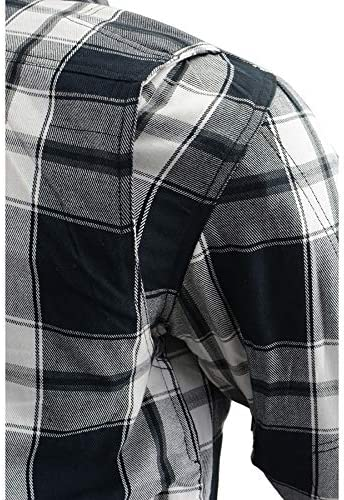 Milwaukee Performance MPM1644 Mens Black and White Armored Long Sleeve Flannel Shirt with Kevlar