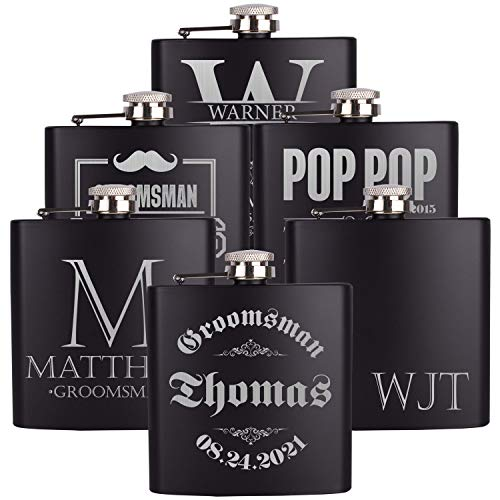 PersonalizedGiftLand Personalized Flask, Set Of 10 - Customized Flask Groomsmen Gifts For Wedding Favors, Personalized Groomsman gift – Stainless Steel Engraves Flasks w Gift Box Options – 6oz, Black by PersonalizedGiftLand