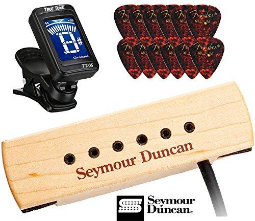 Seymour Duncan SA-3XL Woody XL Soundhole Acoustic Gutiar Pickup Bundle with Fender Picks, True Tune Tuner 11500-32